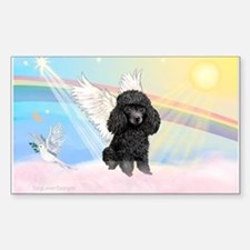 Angel /Poodle (blk Toy/Min) Rectangle Decal