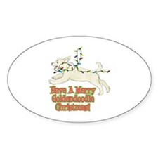 Christmas Goldendoodle Oval Sticker