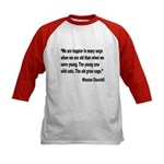 Churchill Happy Old Quote (Front) Kids Baseball Je