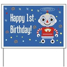 1st Birthday Robot Yard Sign