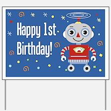 1st Birthday Robot Yard Sign