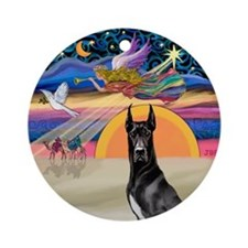 Xmas Star/Black Great Dane Ornament (Round)
