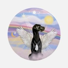 Black Great Dane Angel Ornament (round)