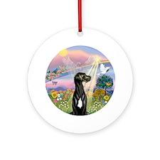 Cloud Angel-Black Great Dane Ornament (round)