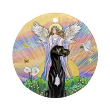 Angel Blessing-Great Dane (blk) Ornament (round)