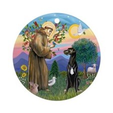 St Francis Blessing A Great Dane Ornament (round)