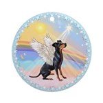 Manchester Terrier Angel Ornament (Round)