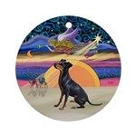 Xmas Star - Manchester Terrier Ornament (Round)