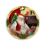 Santa's Maltese (#11) Ornament (Round)