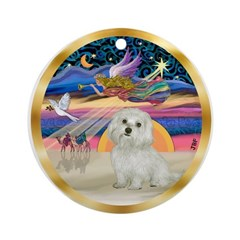 Xmas Star-Maltese #11 Ornament (Round)
