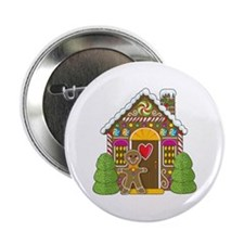 """Gingerbread House 2.25"""" Button"""