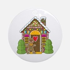Gingerbread House Ornament (Round)