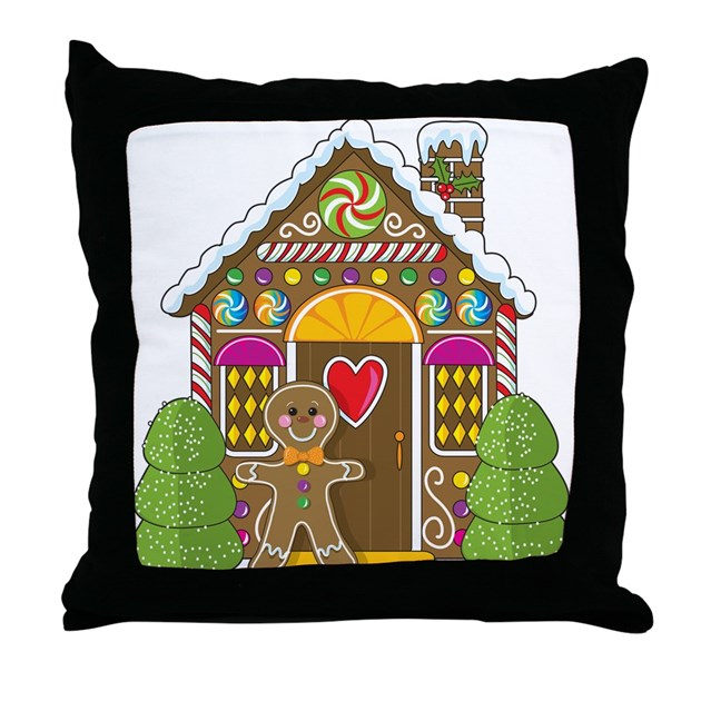 Gingerbread Decorative Pillows : Gingerbread House Throw Pillow by mariabellimages