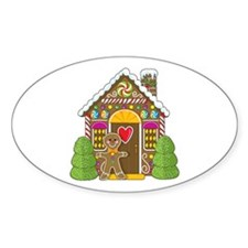 Gingerbread House Oval Decal