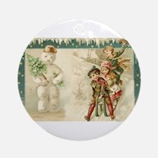 Snowman and Tree Ornament (Round)