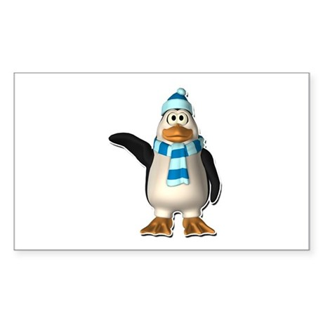 Waving Penguin with Blue Scarf & Hat Sticker (Rect