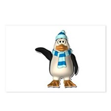 Waving Penguin with Blue Scarf & Hat Postcards (Pa