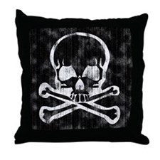 Worn Skull and Crossbones Throw Pillow