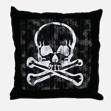 Worn Skull and Crossbones Throw Pillow