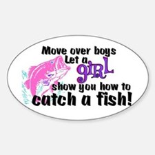 Move Over Boys - Fish Sticker (Oval)