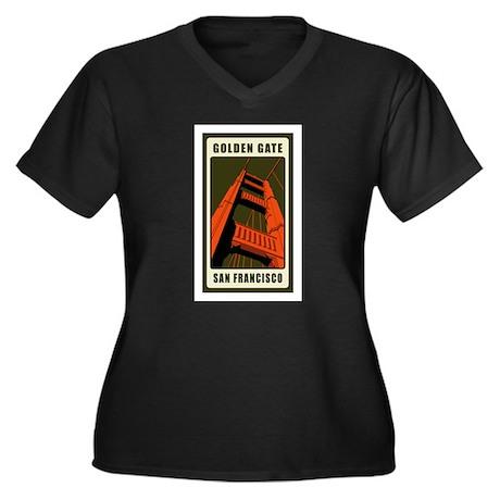 Golden Gate Women's Plus Size V-Neck Dark T-Shirt