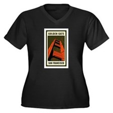 Golden Gate Women's Plus Size V-Neck Dark T-Shirt