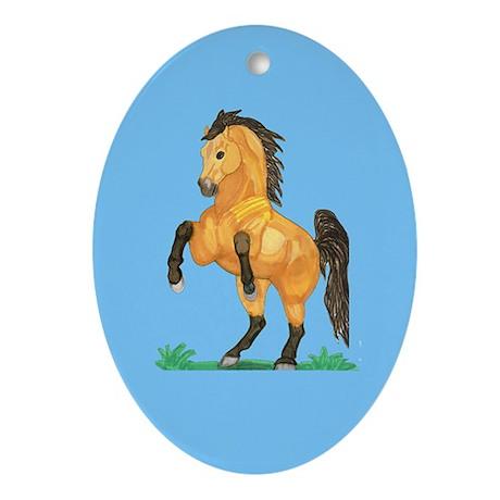 Rearing Buckskin horse Oval Ornament