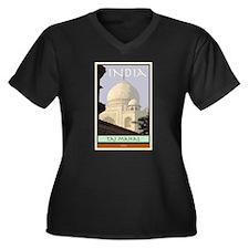 India Women's Plus Size V-Neck Dark T-Shirt