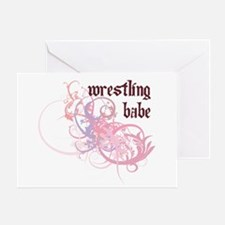 Wrestling Babe Greeting Card