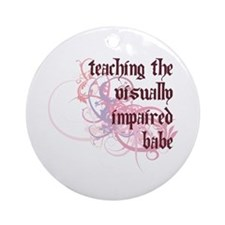 Teaching the Visually Impaired Babe Ornament (Roun
