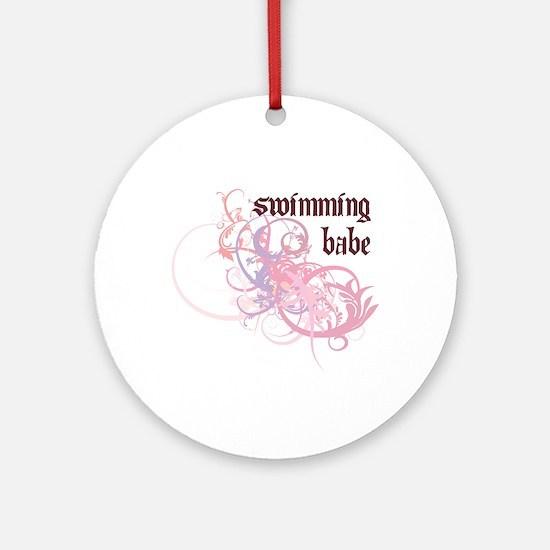 Swimming Babe Ornament (Round)