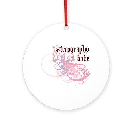 Stenography Babe Ornament (Round)