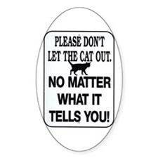 Cat Out Oval Decal