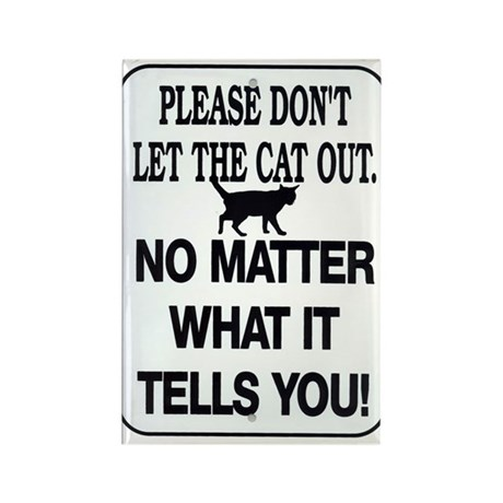 Cat Out Rectangle Magnet
