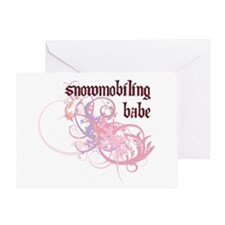 Snowmobiling Babe Greeting Card