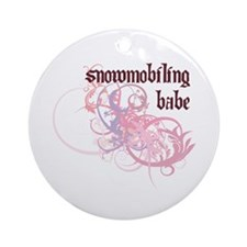 Snowmobiling Babe Ornament (Round)