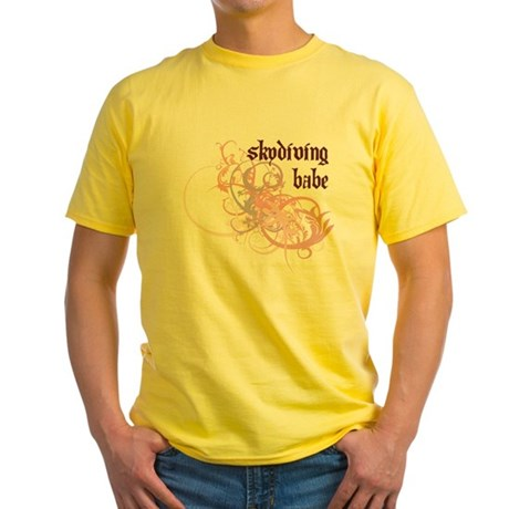 Skydiving Babe Yellow T-Shirt