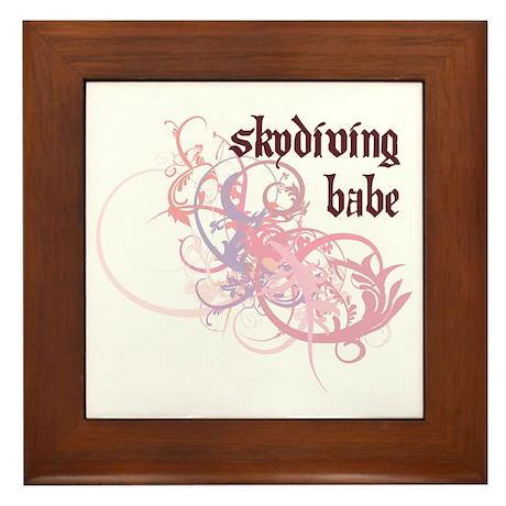 Skydiving Babe Framed Tile