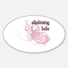 Skydiving Babe Oval Decal