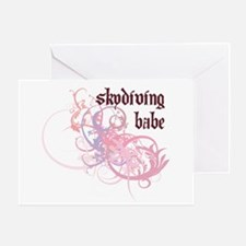 Skydiving Babe Greeting Card