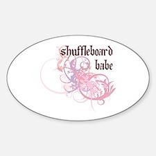 Shuffleboard Babe Oval Decal