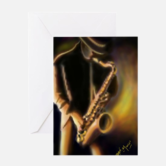 Saxophone player Greeting Cards