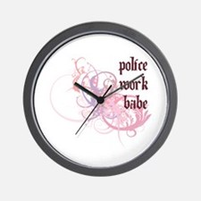 Police Work Babe Wall Clock