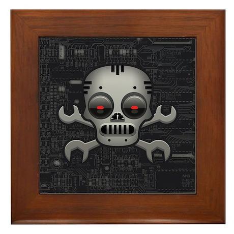 Robot Skull Framed Tile