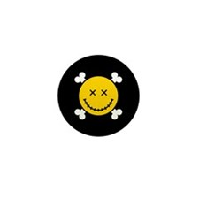 Smiley and Crossbones Mini Button