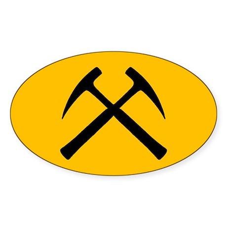 Crossed Rock Hammers Oval Sticker