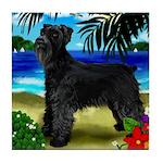 GIANT SCHNAUZER DOG BEACH Tile Coaster