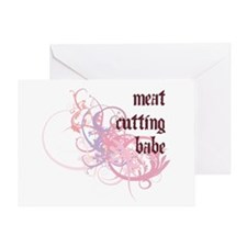Meat Cutting Babe Greeting Card