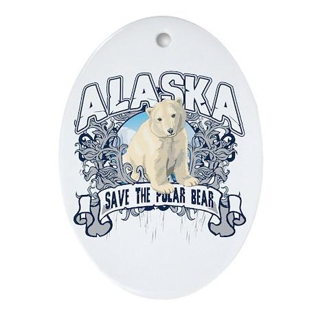 Polar Bear Alaska Oval Ornament