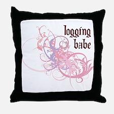 Logging Babe Throw Pillow